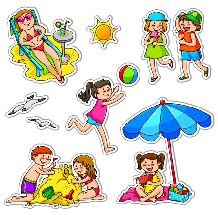 Set of kids enjoying summer Vector