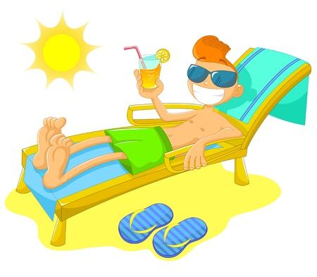 caricatura: Niño sentado en una tumbona en la playa con una bebida fría y una gran sonrisa