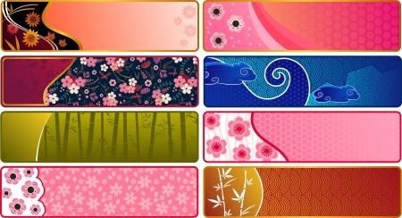 sakuras: Banderas con los patrones japoneses