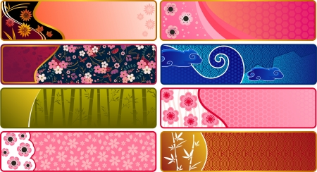 japanese kimono: Banners with Japanese patterns  Illustration