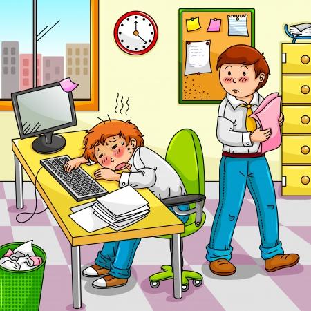 ersch�pft: Office worker Krankheitsgef�hl oder ersch�pft mit seinem Kollegen neben ihm