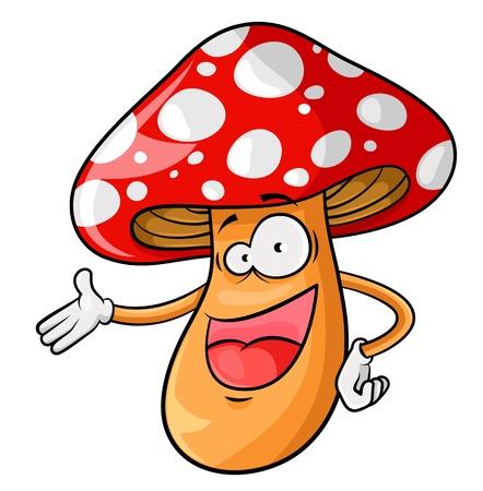 amanita: Happy cartoon mushroom isolated on white