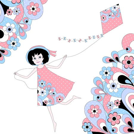 Girl flying a kite between abstract floral pattern