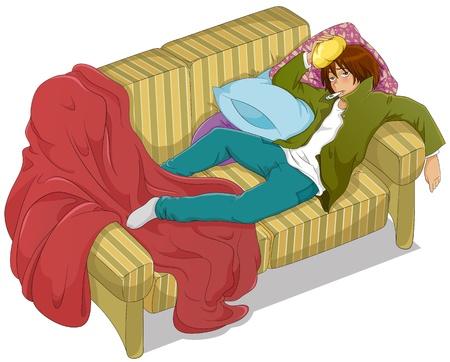 sick: chico k con fiebre alta tumbada en el sof�