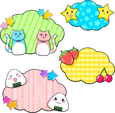 set of cute manga style stickers Vector