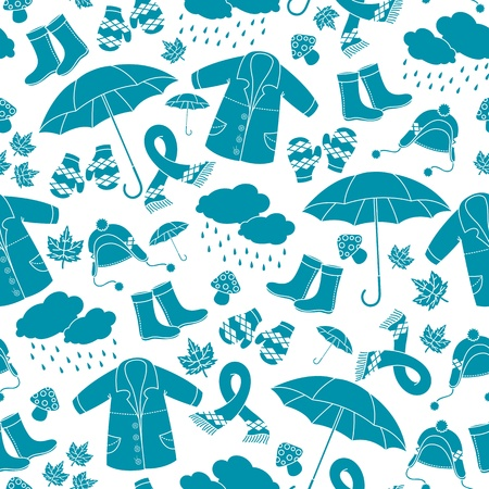 seasonal clothes: Seamless pattern with symbols of autumn Illustration