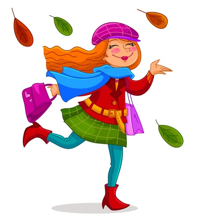 Happy woman carrying shopping bags under falling autumn leaves Vector