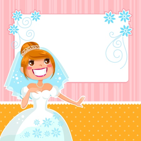 Bride over a decorated frame Vector