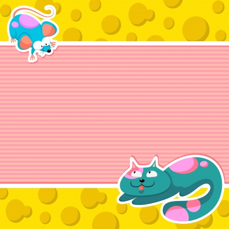 Cartoon cat and a mouse on a background with space for text Vector