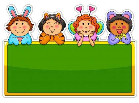 elementary: Kids wearing costumes leaning over a blank blackboard