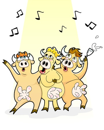drunk party: Funny cartoon cows singing happily Illustration