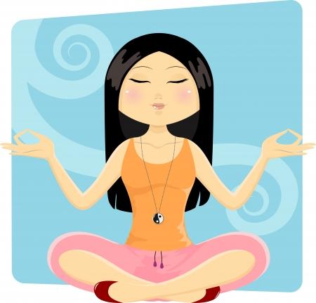 sitting meditation: Girl in yoga position