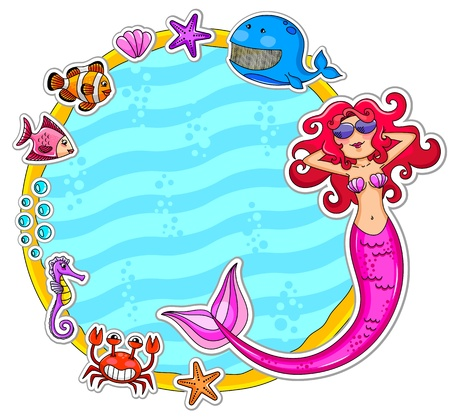 Frame with sea creatures and a mermaid wearing sunglasses Vector