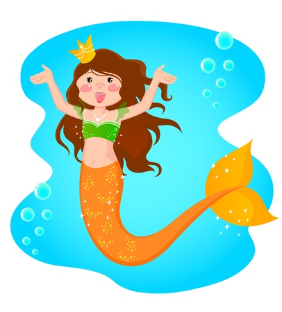 Cheerful mermaid princess in the sea Vector