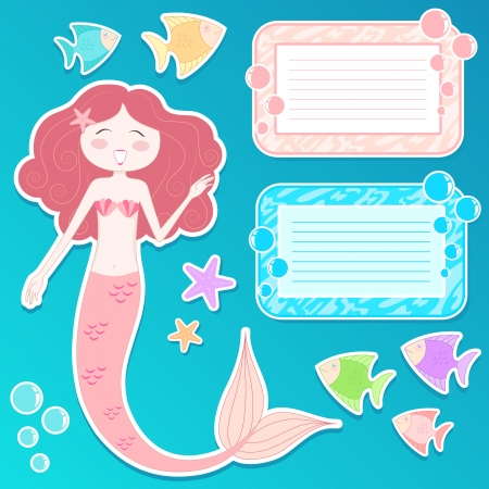 Set of mermaid, text frames and decorations for your design Stock Vector - 16525598
