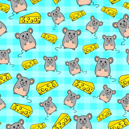 less pattern with cute mice and slices of cheese Vector