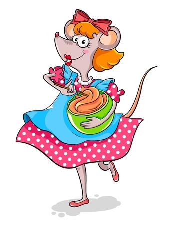 baking cake: Lady mouse making a cake Illustration