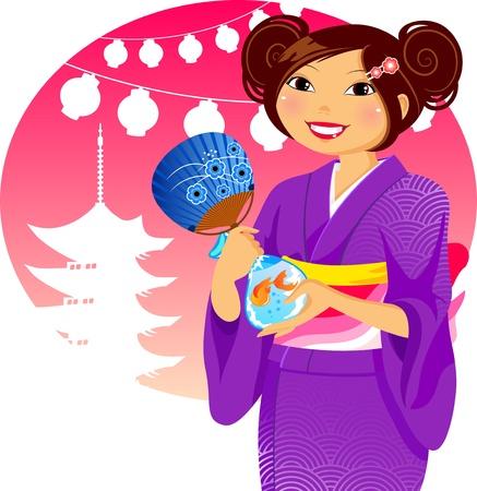 far east: Chica japonesa en kimono durante el festival de verano tradicional Vectores