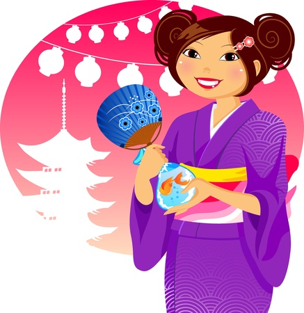 Japanese girl in kimono during the traditional summer festival Stock Vector - 16525698