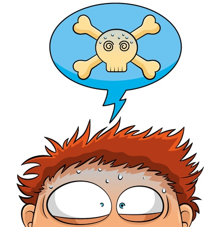 uneasy: Nervous person with a crossbones skull over his head Illustration