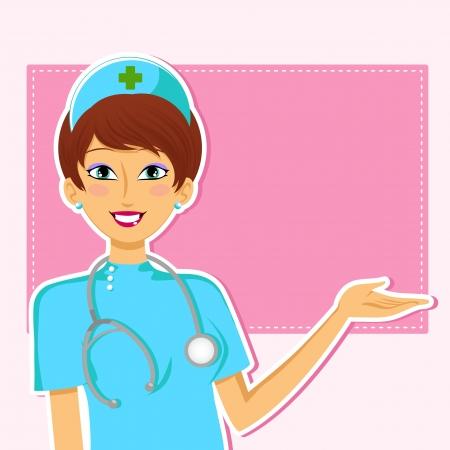 enfermera con cofia: dad sonriente enfermera haciendo un gesto de presentación Vectores