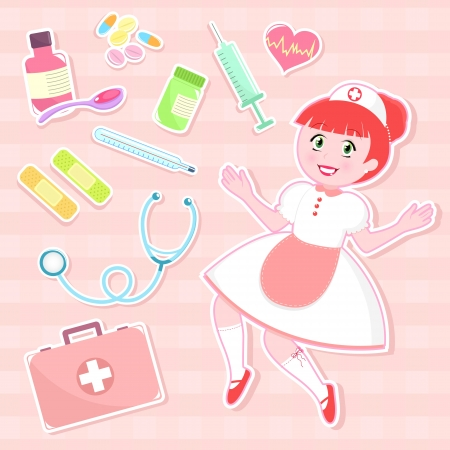 first aid kit: cute nurse with collection of first aid items