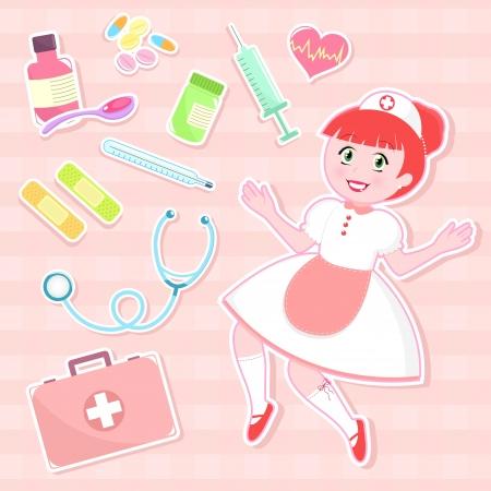erste hilfe koffer: s��e Krankenschwester mit der Sammlung von Erste-Hilfe-Artikel