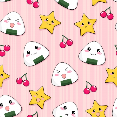 less pattern with cute japanese rice balls Vector