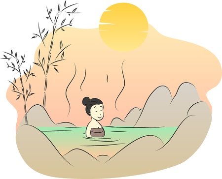 onsen: Woman in a hot spring
