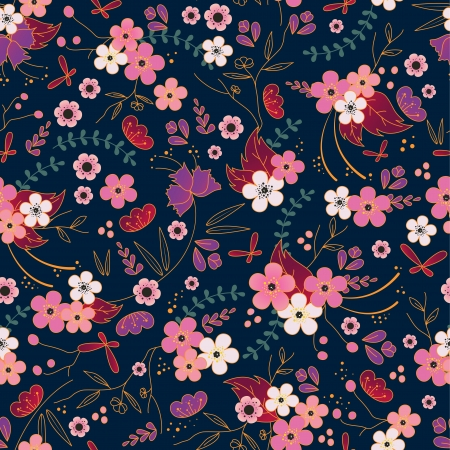 oriental flower: asian seamless pattern