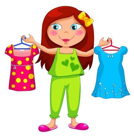 choose person: girl holding different clothes