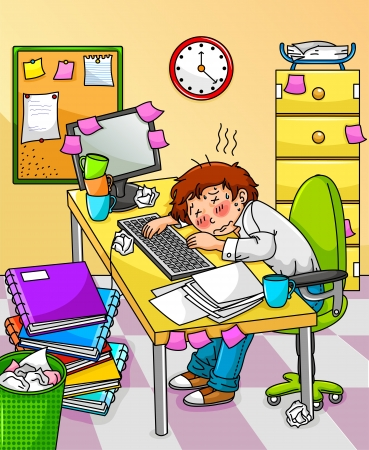 tasks: Very tired worker or student Illustration