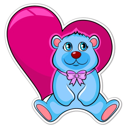 Happy blue teddy bear with heart in the background Vector