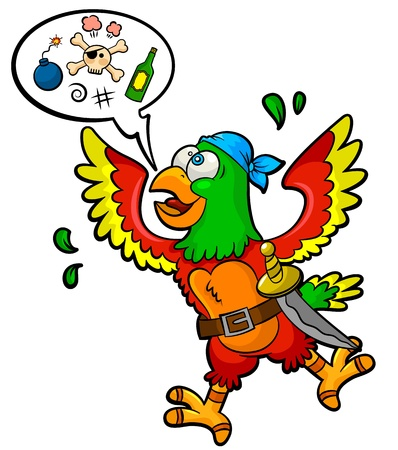 Funny pirate-parrot with a speech bubble and piracy icons in it Vector