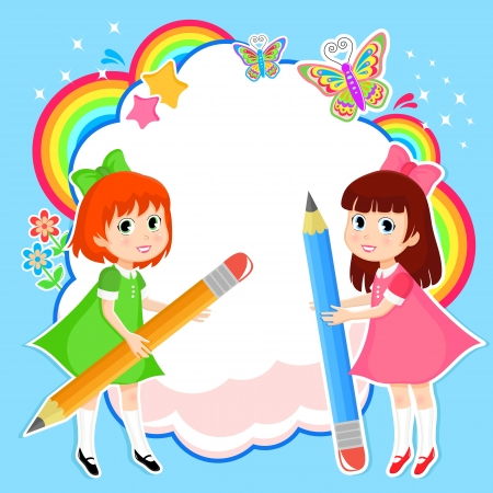 creative writing: Girls with pencils on colorful abstract background