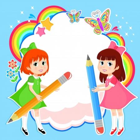 Meninas com lápis no fundo colorido Ilustração
