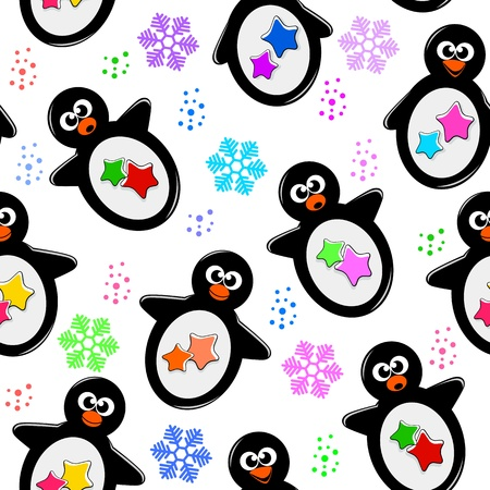 Seamless pattern with cartoon penguins Vector