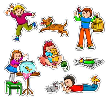 Happy kids with their pets Vector