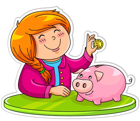 cartoon money: Little girl putting a coin in her piggy bank Illustration