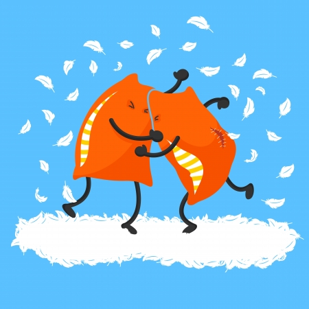 peleando: Dos almohadas con una pelea de almohadas Vectores