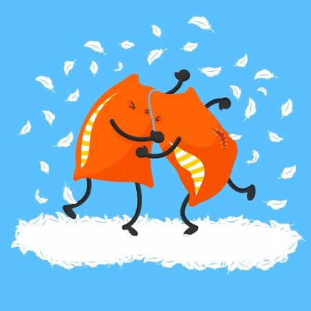 Twee kussens met een kussengevecht Vector Illustratie