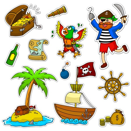 barco caricatura: un conjunto de artículos piratas Vectores