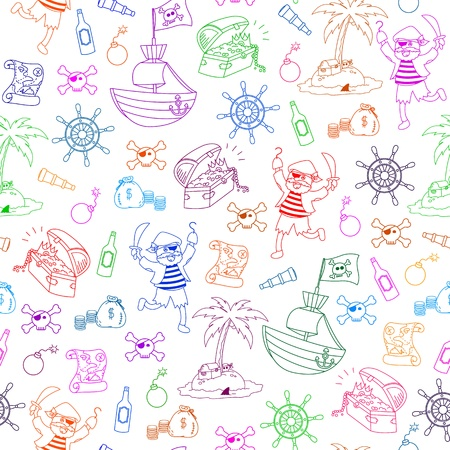 seamless pattern with pirate themed doodles  Illustration