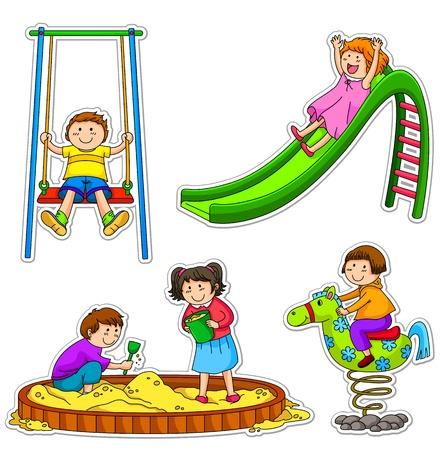rutsche: Kindern auf dem Spielplatz Illustration