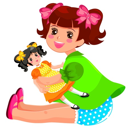 Little girl playing with her doll Vector