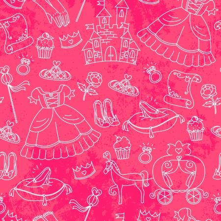 couronne princesse: Seamless pattern avec des choses li�es � des princesses