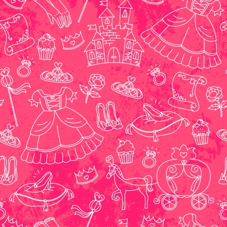 cinderella shoes: Seamless pattern with things related to princesses