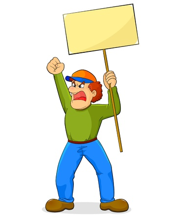 demonstrator: Angry cartoon man holding a sign and waving his fist