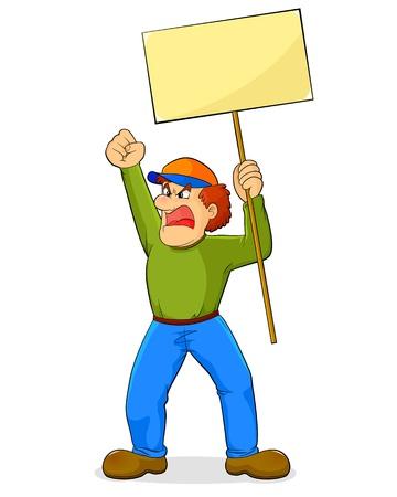 Angry cartoon man met een bordje en zwaaiend met zijn vuist