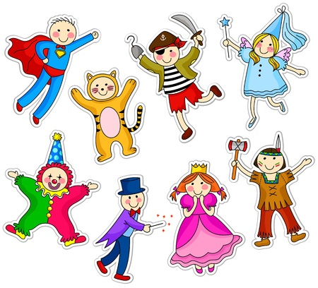 purim: Kids wearing different costumes Illustration